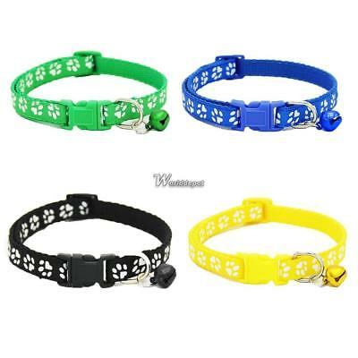 Lovely Small Footprint With Bell Pet Collar Nylon Fabric Cat Kitten Dog Puppy WP