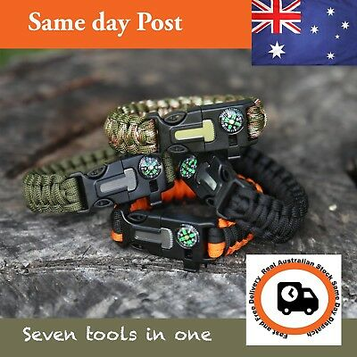 Survival Paracord Bracelet Whistle Compass 5in1 Gear Tool Kit Flint Fire Starter