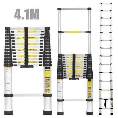 Finether 4.1M Aluminum Telescopic Ladder Extension Extendable 14 Step Ladder