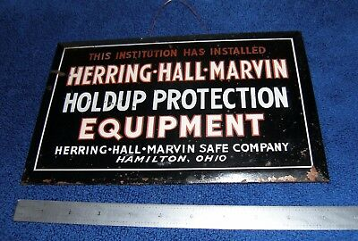 Herring Hall Marvin Safe Sign Time Lock Holdup Protection Equipment HHM diebold
