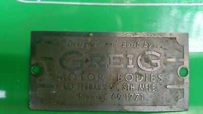 Vintage Greig Body Works Makers Plate