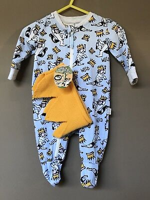 Peter Alexander Baby Boy Where The Wild Jumpsuit Size 0-3 Months RRP$49.95