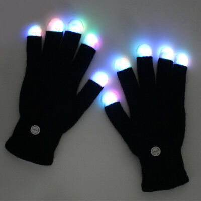LED Colorful Flashing Finger Lighting Gloves Stage Performance Christmas Black