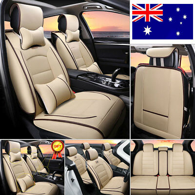 AU STOCK 7× Car Seat Cover 5-Seat SUV Deluxe PU leather Front+Rear Cushion Beige