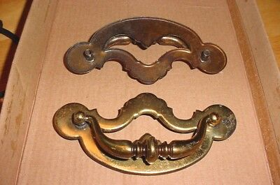 Lot of 12 Antique Brass Plate Colonial Drop Bail Style Drawer Pulls