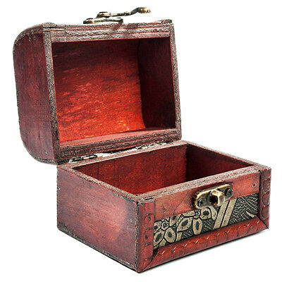 Wooden Antique Design Embossed Flower Jewelry Gift Necklace Case Box B1D0