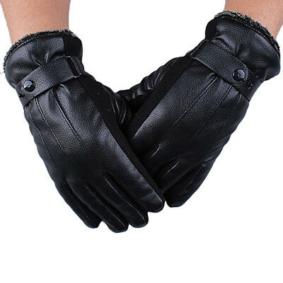 Men Warm Soft Cashmere Leather Male Winter Waterproof Gloves Driving #1 M4Q4