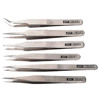 Kit 6 Professional Security Antistatic Tweezers High Quality Silver Anatomy H0E4
