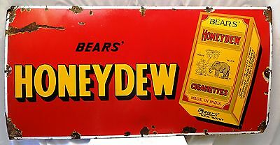 Bear's Honeydew Cigarettes Advertisement Vintage Enamel Porcelain Sign Collectib