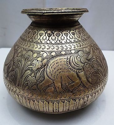 Antique Pot Brass Elephant Indian Hand Crafted Engraved Work Rare Collectibles