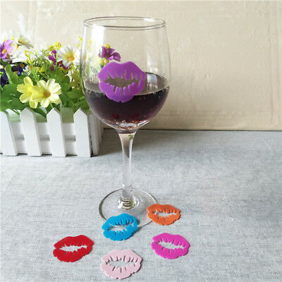 6pcs Fashion Sexy Red Lips Wine Glass Markers Charms Silicon Drink Marker Label