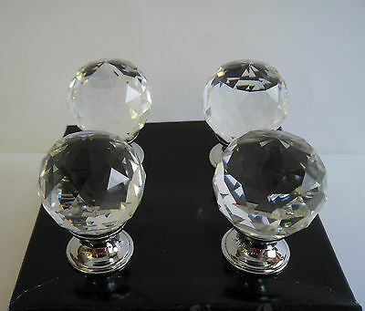 New  Box 4 Vintage Style Crystal Ball Glass Door Drawer Cabinet Knobs/Handals
