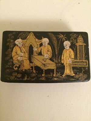 Antique Chinese Lacquered Stamp Box