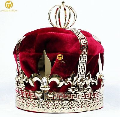 """Red Velvet 9"""" King Crowns Renaissance Imperial Medieval Tiaras Pageant Costumes"""