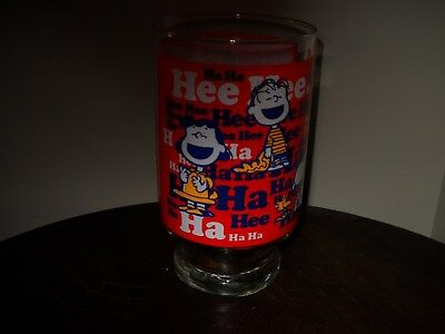 Peanuts Vintage Extra Large Drink Glass Hee Hee Ha Ha 1965
