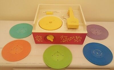 Fisher Price Music Box Record Player - 5 Records (Vintage/Retro) 3 DAY AUCTION