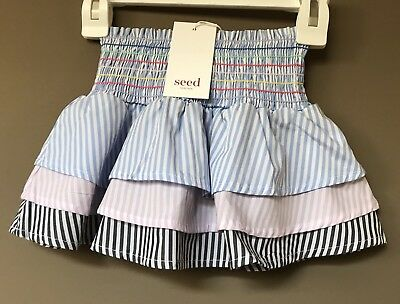 Seed Heritage Little Girls Rainbow Shirred  Skirt Size 3 Years RRP$39.95