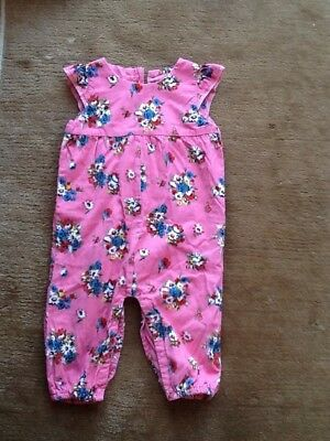 Baby Girls Mini Boden Corduroy Floral Dungarees, 12-18 Months