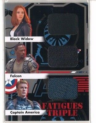 2014 UD Captain America The Winter Soldier Fatigues Black Widow Falcon Triple FT