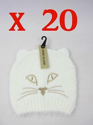 Joblot River Island Cat Hats - Cream - One Size - Rrp £12 Each - 20 For Only £40
