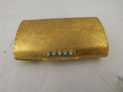 Gold Metal with Turquoise Beads Powder Compact