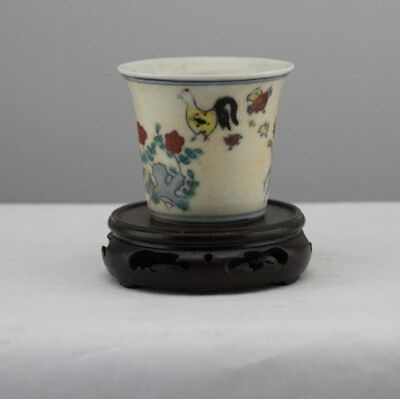 Old Chinese Dynasty Wucai Porcelain Chicken Paint Teacup Tea Cup Wine Cups A