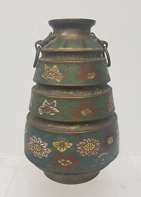 Antique Japanese Chinese Style Bronze Champleve Archaic Style Vase