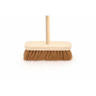 "12"" Natural Coco Soft Bristle Broom With Handle"