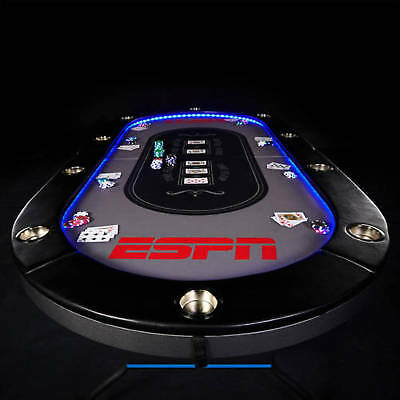 ESPN 10 Player Premium Poker Table With In-Laid LED Lights, No Assembly Required