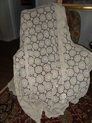 Classic Vintage Crochet Oval Tablecloth