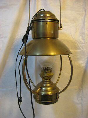 large Brass trawler lamp, electrified