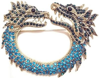 Exquisite High End Estate Rhinestone Double Headed Chinese Dragon Brooch Pin
