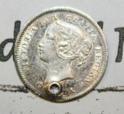 1900 CANADA SILVER 5 CENT COIN lot NF502 - HIGH GRADE - HOLED