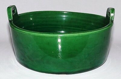 Great Rare Chinese Tang-Song Dynasty c.618-1279 Green Glazed Pottery Basket Bowl
