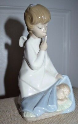 Retired Vintage Lladro Porcelain Guardian Angel Girl Baby Figurine No Box