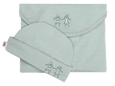 Cocooi Babywrap Merino Baby Swaddle and Beanie Set, Turtle Dove 0-3 Months