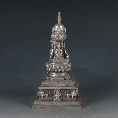 Exquisite Tibetan Silver Buddha&Pagoda Incense Burner BT0006