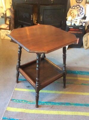 Small Dark Solid Wood Vintage Eight Sided Table