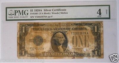 PMG Graded 4 / 1928A $1 Bill $1.00 Note Silver Certificate Serial # Y32823678A