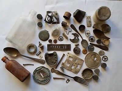 Junk Drawer Lot of Vintage Antique Metal Objects Collectibles Bottles