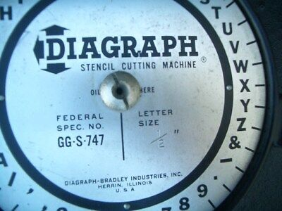 Diagraph stencil press cutting machine 1/2 letter 747 vintage printing tool used