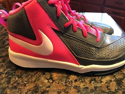 Girls Pink and Gray Nike High Top Basketball Shoes Size 3Y