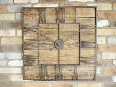 Large rustic Vintage Antique Wood Metal Hands Decorative Wall Art Clock
