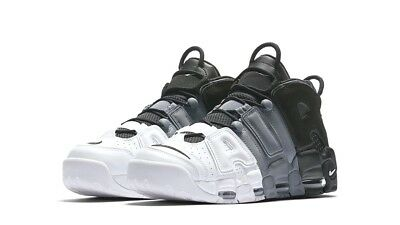 Nike Air More Uptempo '96 Leather 921948-002 Black-Black-Cool Grey Shoes Uomo
