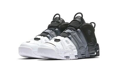 Nike Air More Uptempo 96 Leather 921948-002 Black-Black-Cool Grey Shoes Uomo