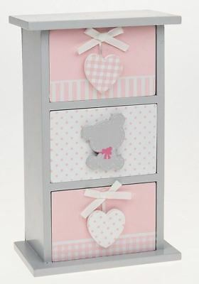 Tiny Ted 3 Drawer Vertical Chest of Drawers Pink & Grey 26cm high