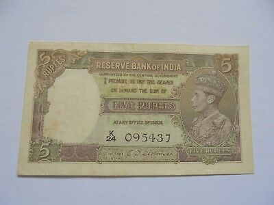 Burma: Reserve Bank Of India, Five rupees, (1943)  CONDITION NOT SURE- CRISP.