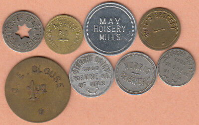 7 pc lot Tennessee merchant tokens +  1-Goffs Grocery 5c (Corbin, Ky.?) 8 pc lot