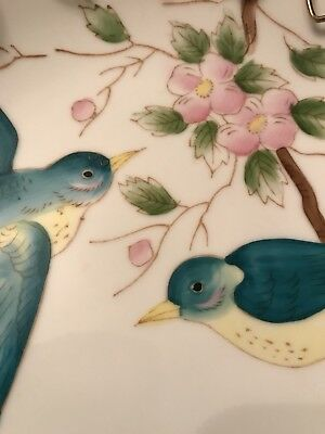 Vintage Hand Painted Bluebirds On China Plate With Metal Wire Frame
