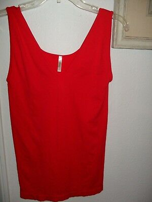 SKINNYTEES Seamless V-Neck Tank Stretch Long Red One Size